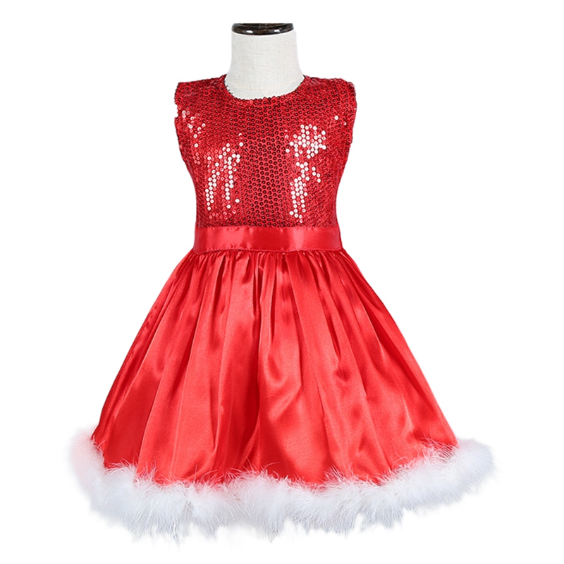 Kids Party Dress Sequins Red Sleeveless Christmas Gift Tutu Dresses 2016 Toddler Girl Xmas Costume Clothing For 2-6 Years GD24 стоимость