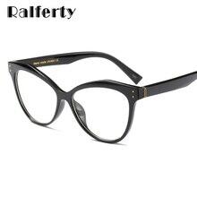 6db1e6e12 Ralferty Mulheres Claras Óculos de Armação de Quadros de Olho de Gato Do  Vintage Óculos de