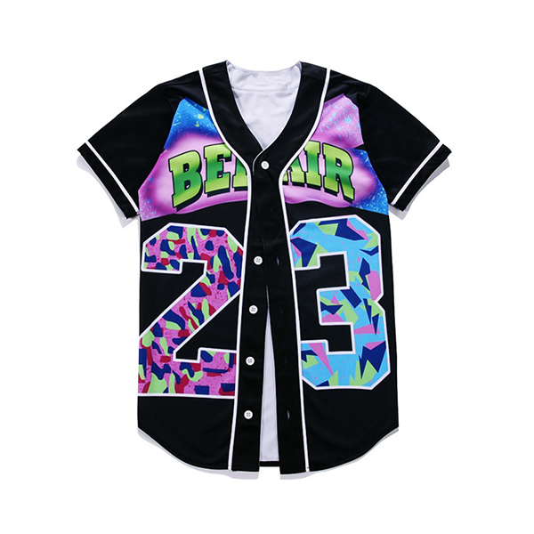 3d Baseball Shirt Buttons Homme Streetwear Tees Shirts Hip Hop Bel Air 23 - Fresh Prince Custom Men Baseball Jersey