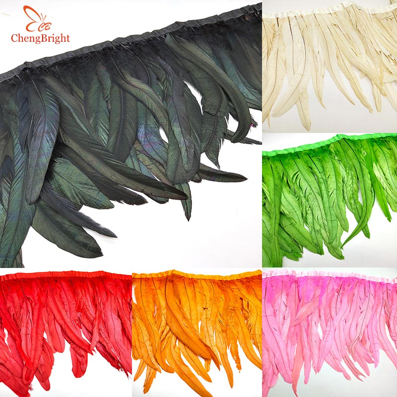 CHENGBRIGHT 10 Yards Rooster Tail Ribbon Coque Feather Trimming For Crafts Dress Skirt Carnival Costumes Plumes