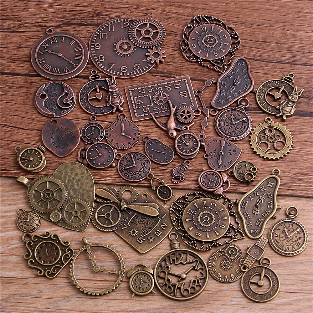 PULCHRITUDE 10pcs Vintage Metal Zinc Alloy Mixed Two Clock Pendant Charms Steampunk Clock Charms for Diy Jewelry Making T3012