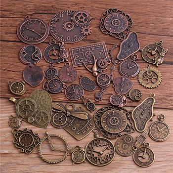 PULCHRITUDE 10 sztuk Vintage Metal stop cynkowy mieszane dwa zegar zawieszki Charms Steampunk zegar Charms dla Diy tworzenia biżuterii T3012 tanie i dobre opinie Ze stopu cynku Other TRENDY antique silver antique bronze 10pcs lot 1mm=0 0393inch 1inch=25 4mm