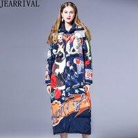 Брендовая модная зимняя куртка женская теплая парка с длинным рукавом мультяшный принт с капюшоном толстое длинное зимнее пальто 2018 на мол
