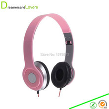 Stereo Folding Headphones, Headband Headset Kids Earphones or Adults Lightweight Headsets for Iphone/tablet/android/mp3/mp4 Pink