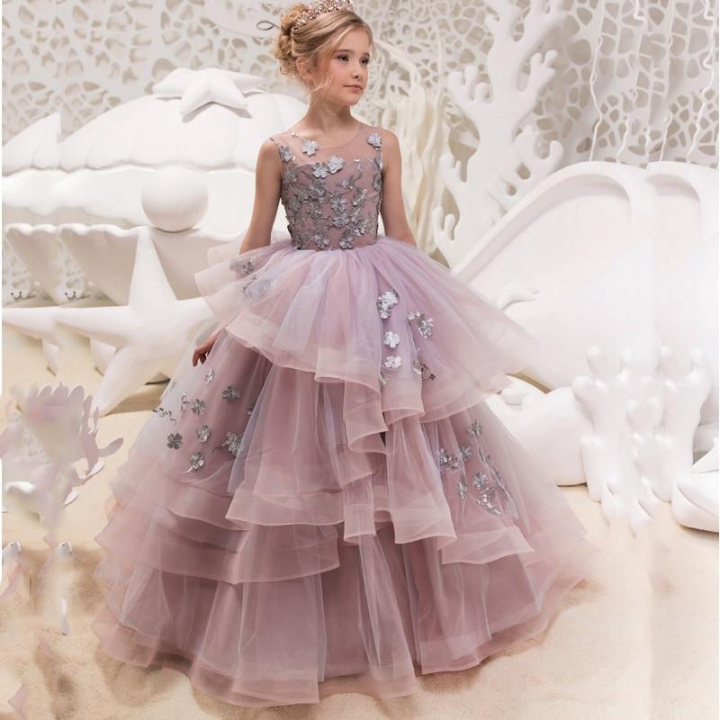 купить New Hot Girls Tulle O-neck Sleeveless Flowers Ball Gowns Floor Length Elegant Girls Princess Dress Birthday Party Wedding Gowns по цене 5207.25 рублей