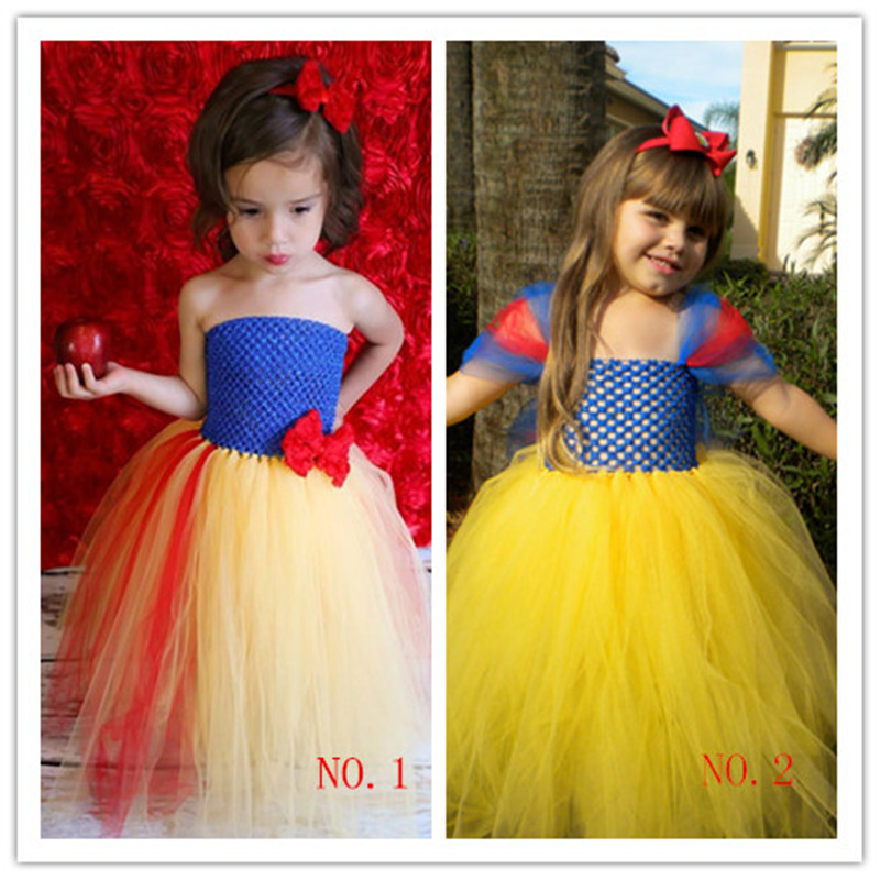 Kids Infant Baby Girl Handmade Snow White Princess Tutu Dress Tulle Party Wedding Dress Halloween Cosplay Costume With Headband gorgeous pink and white girls tutu dress with headband princess birthday party wedding costume photo props tulle dress ts110