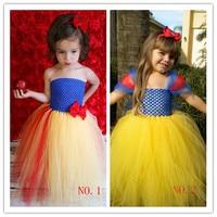 Kids Infant Baby Girl Handmade Snow White Princess Tutu Dress Tulle Party Wedding Dress Halloween Cosplay Costume With Headband