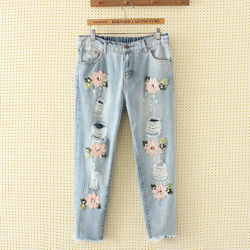 Hearty Women Boy Friend Jeans With Holes Elasitc Waist Straight Denim Girls Ankle Length Ripped Jeans For Women Plus Size Bottoms