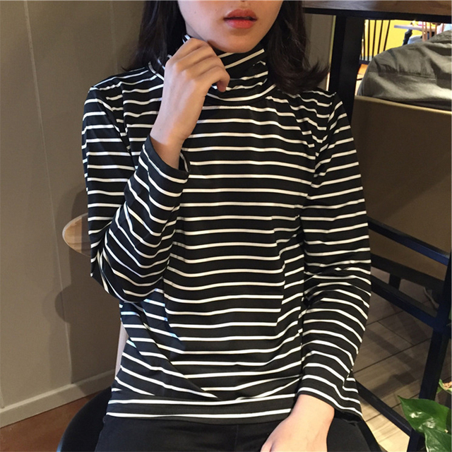 Black White Stripes Autumn Winter Sweater Women Thin Bottoming