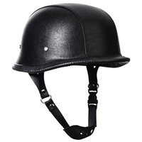 Mayitr 2017 Black DOT German WWII Style Padded Motorcycle Half Helmet Leather Sponge For Chopper Motorcycle