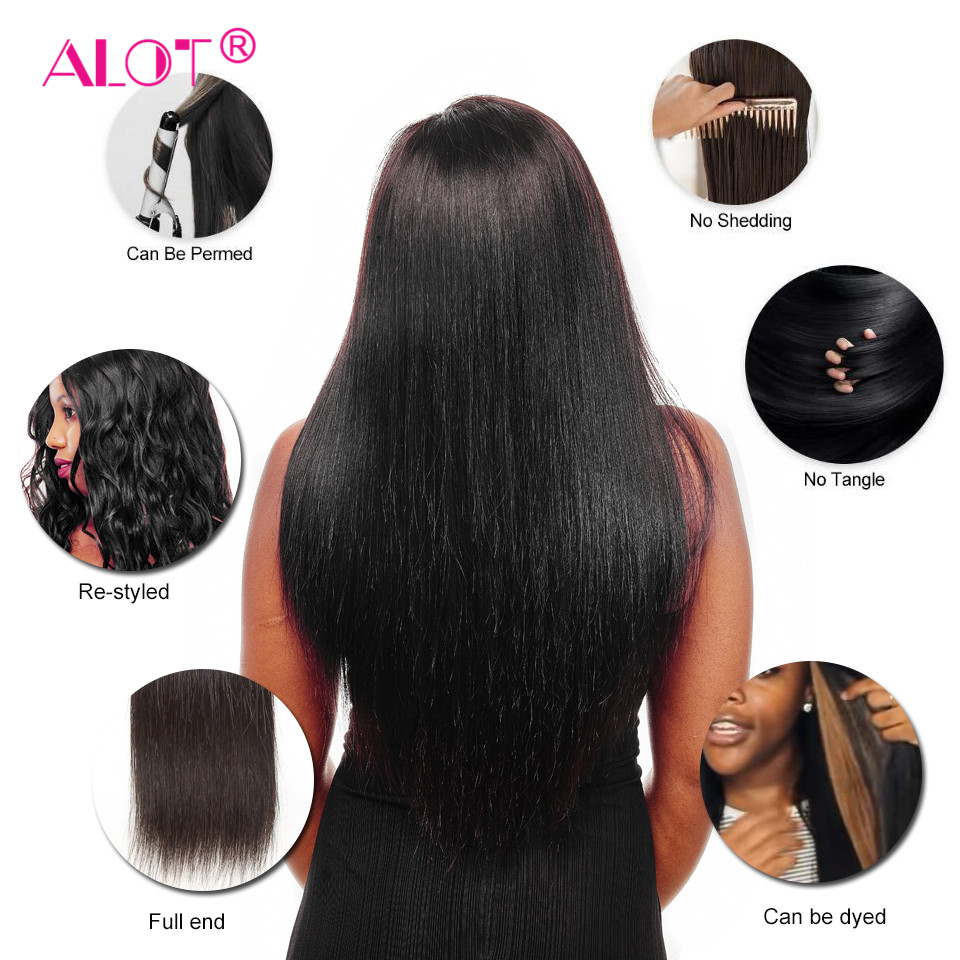 Alot Peruvian Straight Hair Bundles With Closure 3 Bundles With Closure Human Hair Weave Bundles With Closure Non Remy 4 Pcs/lot