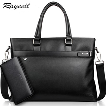 RAYCELL ONE FOR TWO Genuine Leather Briefcase Bags Casual Men Business Cowhide Crossbody Bag Men Travel Bags Laptop for Man bag