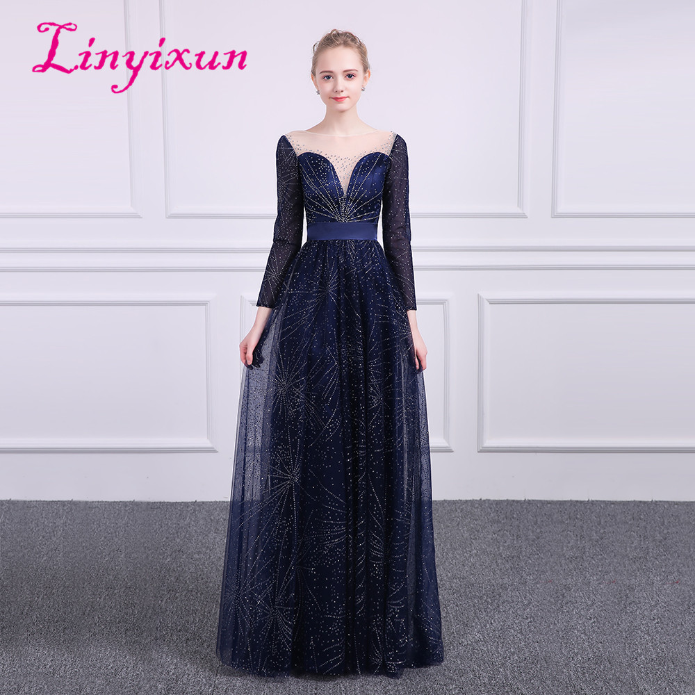 Linyixun Bling Bling Scoop Long Sleeves   Prom     Dresses   2018 Tull Beaded Gilding Floor Length Evening   Dresses   Blue vestido de festa