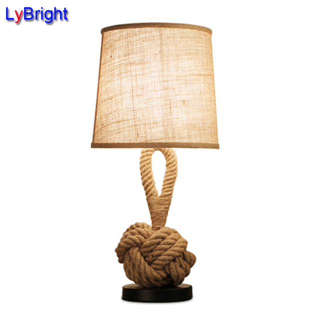 Vintage American Personality Rope Table Lamp AC 90 260V Loft Creative  Industrial Lamp Edison Bulb