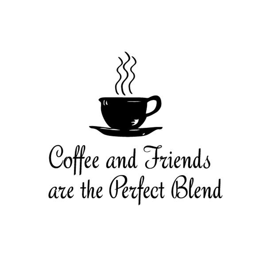 "Quotes About Coffee And Friendship Amazing Kitchen Coffee Quotes Wall Decal "" Coffee And Friends."" Vinyl"