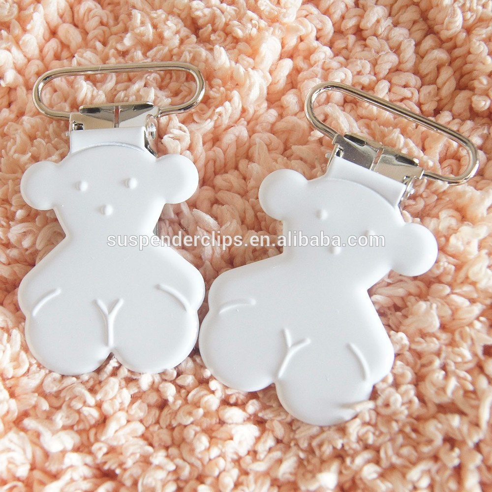 20pcs Metal Pacifier Clips With White Color Wholesale Metal Teddy Bear Suspender Clips Enamel Pacifier Clips