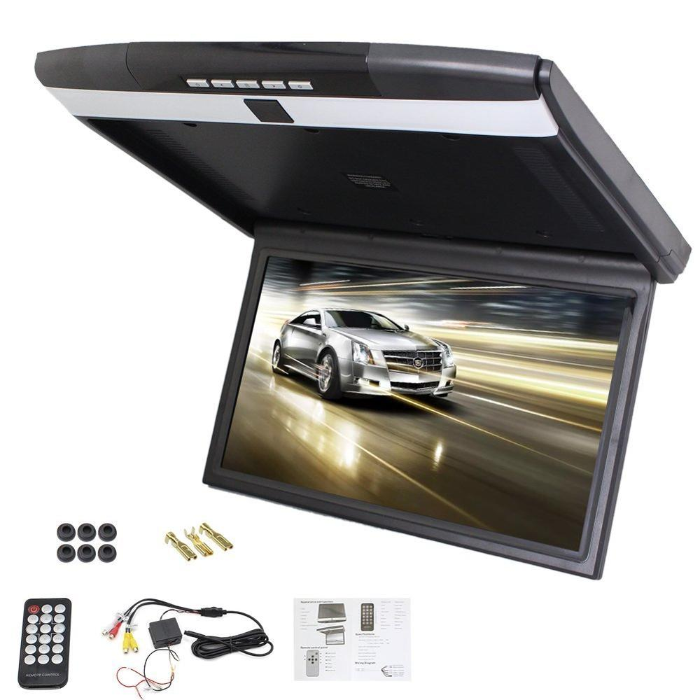 Video Player Car Roof Mount Display Flip Down Monitor Overhead Player Wide Screen LCD Screen Display FM Transmit USB SD AV Input