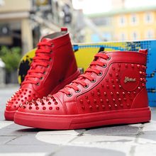 British Men's Leather Boots Red Rivet Martin Boots Spring&fall Male Ankle Boots Flat Trend Hip-hop Man Boots Black Size 38-43
