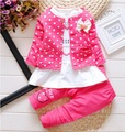 New Dot Set Bow baby girl outfits clothing Sets kids 3PCS coat+ T shirt + Pants children Cute Princess Heart-shaped Print 1-4T