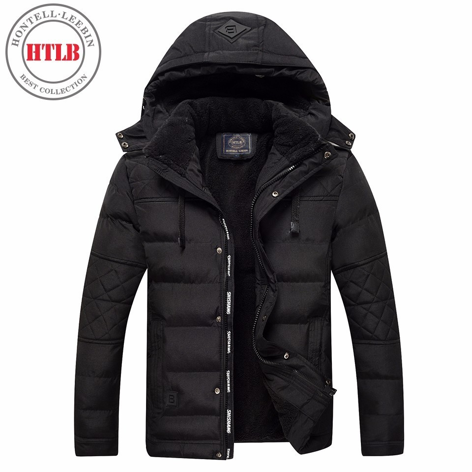 HTLB Brand New Men Winter Warm Thick Fleece Jacket Parkas Coat Bio Down Autumn Fleece Hooded Hat Outerwear Parkas Men Plus Size