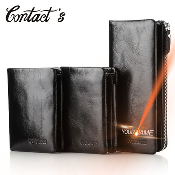 Contact's Men Wallets Leather Genuine With Coin Pocket Luxury Brand Cell Phone Purse Long Male Clutch Bag With Money Card Holder