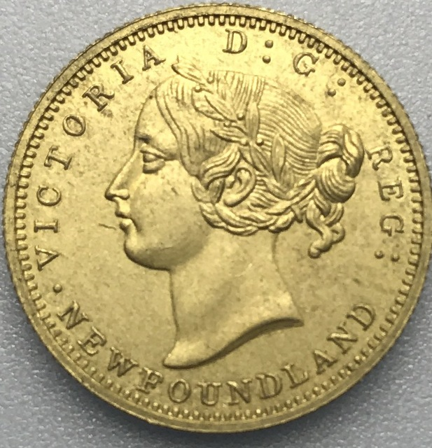 Canada 1872 Victoria Newfoundland 2 Dollars Two Hundred Cents One Pence Gold Crafts Br Metal Copy Coin