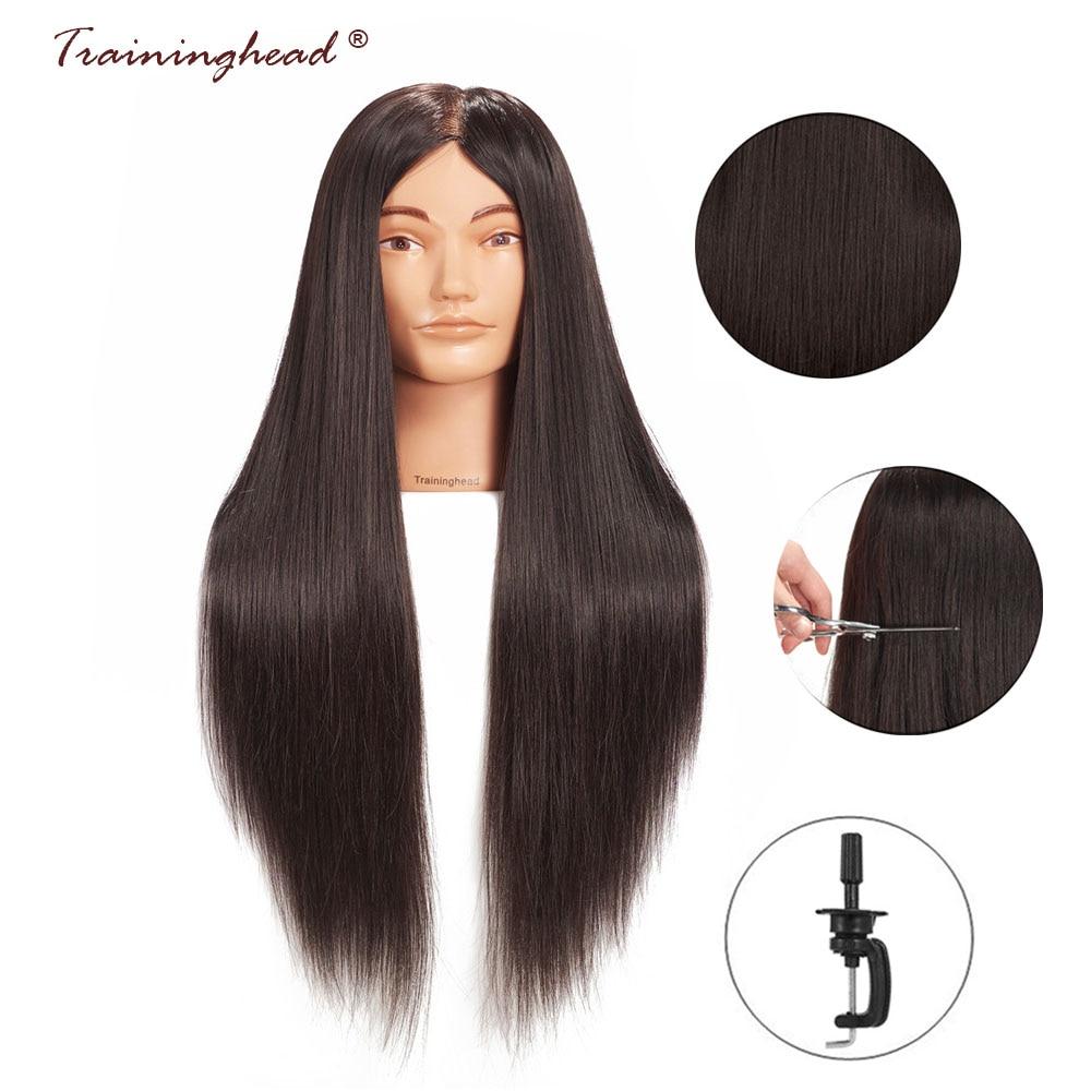 Traininghead 26-28 синтетические манекен с волосами голова с волосами учебный манекен парикмахера голова для макияжа практика обучение голова манекена голова