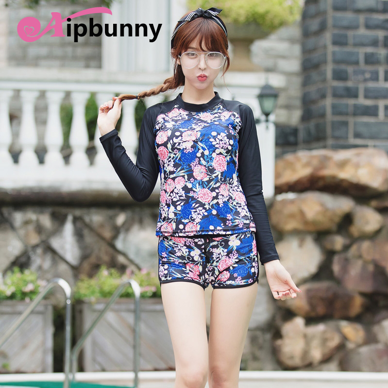 Korean Long Sleeves Floral Rash Guard Women Rashguard Bikini Woman Lycra Surf Swimwear Outdoor Sports Swimming Suit