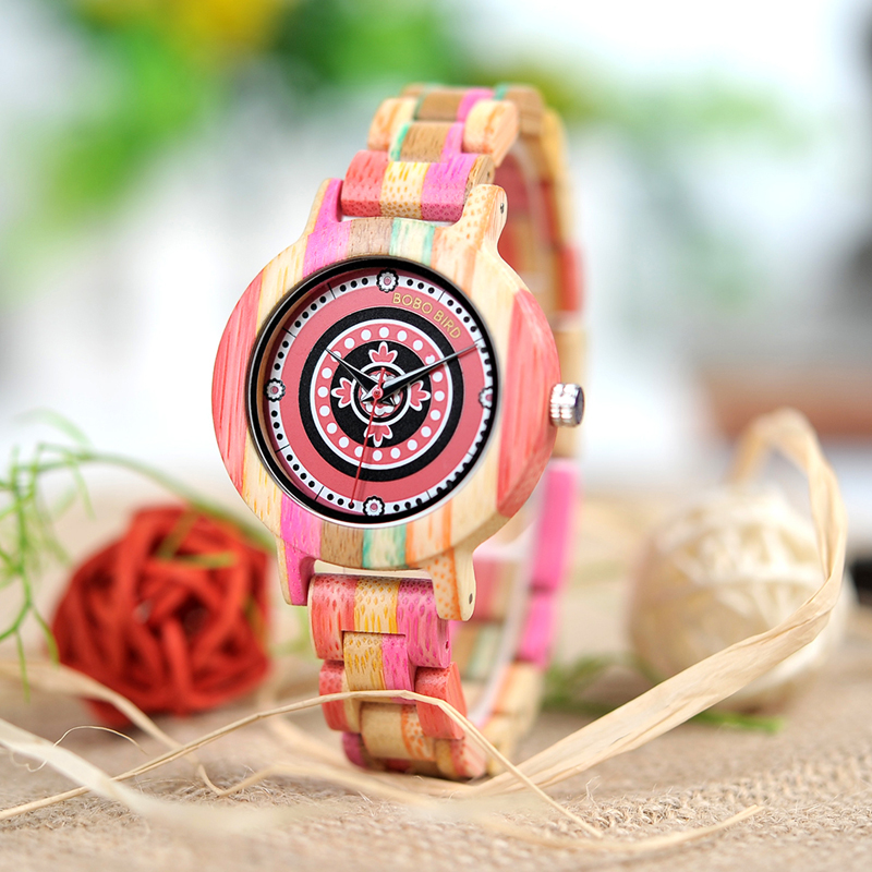 BOBO BIRD Women Wooden Watches Full Color Paint Quartz Ladies Wristwatch in Wooden Gift Box elegant full wooden bamboo hand made case band ladies quartz wristwatch scale design dial simple fashion women watches gift
