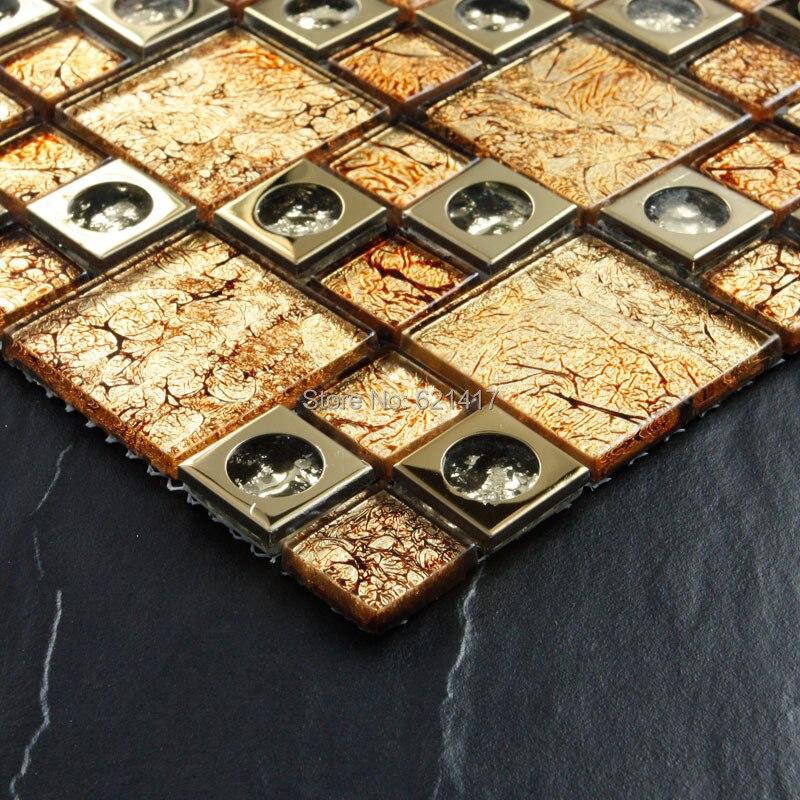 Orange electroplate golden arches mosaic tiles HMGM1100 backsplash kitchen wall tile sticker bathroom floor tile free shipping
