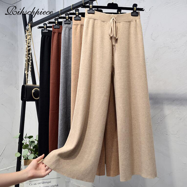 Rihschpiece Winter Knitted Wide Leg Pants Women Elastic Loose High Waist Trousers Female Black Plus Size Pant RZF1554