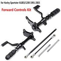 Вперед управления колышки рычаги, для Harley Sportster XL883 XL1200 1991 2003 мотоцикл подставки для ног черный полный комплект
