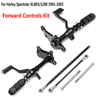 Forward Controls Pegs Levers Linkages for Harley Sportster XL883 XL1200 1991 2003 Motorcycle Foot Rests Black Complete Kit