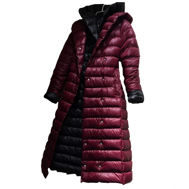Winter Hooded   Coat   High Quality White Duck   Down   Jacket Women's Plus Size Long Warm Parkas Outwear   Down     Coat   Slim Female Overcoat