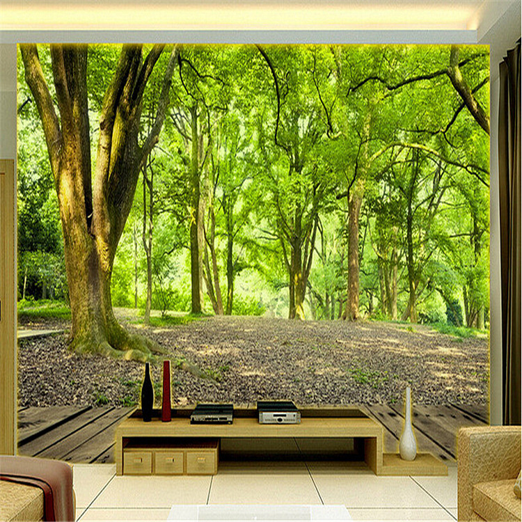 Large 3D stereo personalized custom space mural bedroom living room TV sofa backdrop 3D wallpaper wall covering natural woods custom green forest trees natural landscape mural for living room bedroom tv backdrop of modern 3d vinyl wallpaper murals