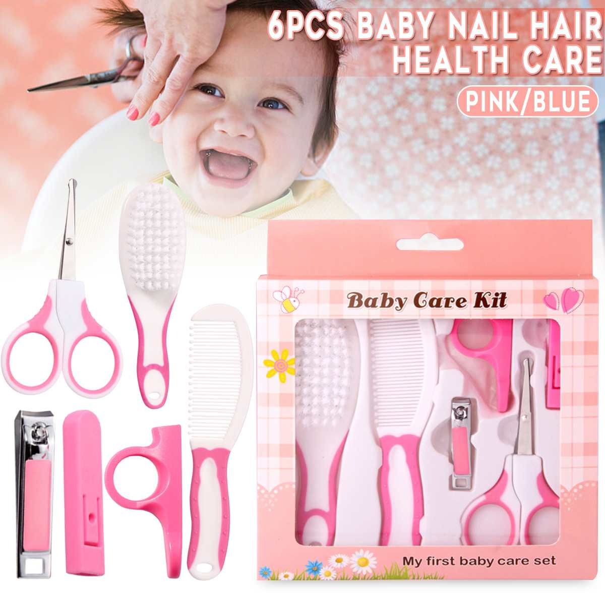 6Pcs/Set Baby Infant Kids Nail Hair Health Care Grooming Brush Comb Scissors Kit Grooming Brush Kit Baby Care