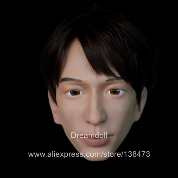 NEW!!SH-21 realistic male silicone rubber crossdress half face mask crossdresser doll, human face mask new sh 15 top quality silicone female masks crossdresser human face mask