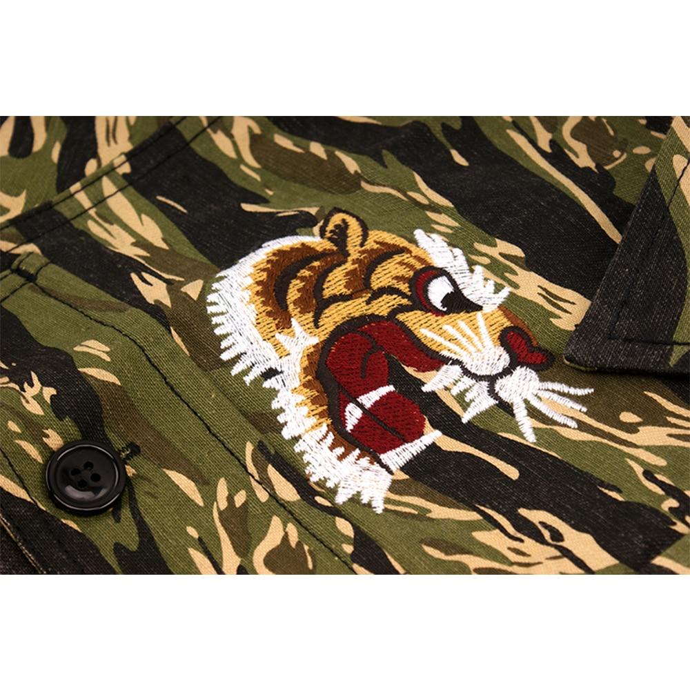 ฤดูใบไม้ร่วงฤดูหนาว Camouflage Tiger เย็บปักถักร้อยเสื้อชายทหาร Mutil หลวม Casual Streetwear เสื้อบุรุษเสื้อผ้า-ใน เสื้อเชิ้ตลำลอง จาก เสื้อผ้าผู้ชาย บน   2