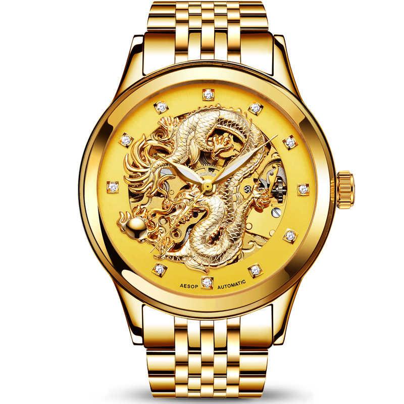 AESOP специальные мужские часы с драконом мужские роскошные золотые автоматические сапфировые механические часы золотые наручные часы Мужские часы Relogio Masculino