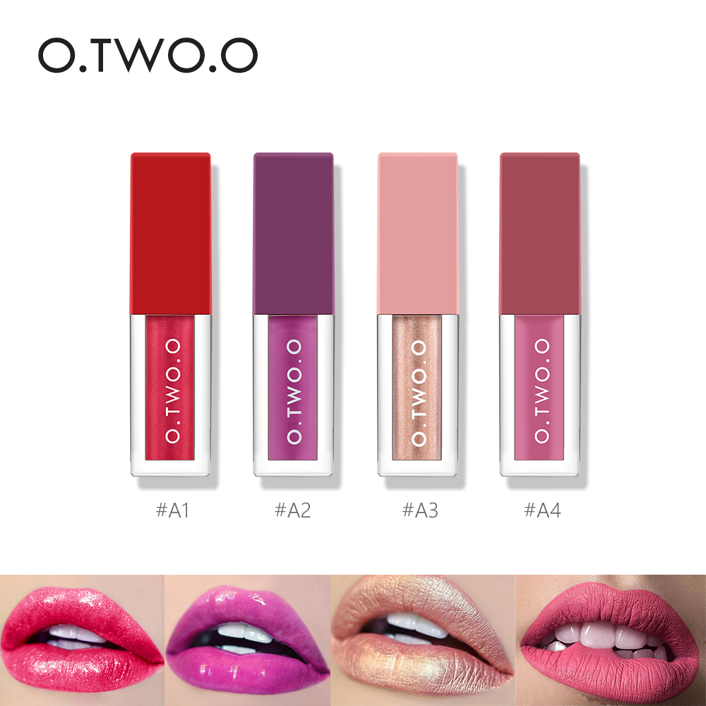 O.TWO.O 4 Colours / Set أحمر شفاه سائل لامع أحمر شفاه مقاوم للماء ناعم لامع لامع وأحمر شفاه سائل