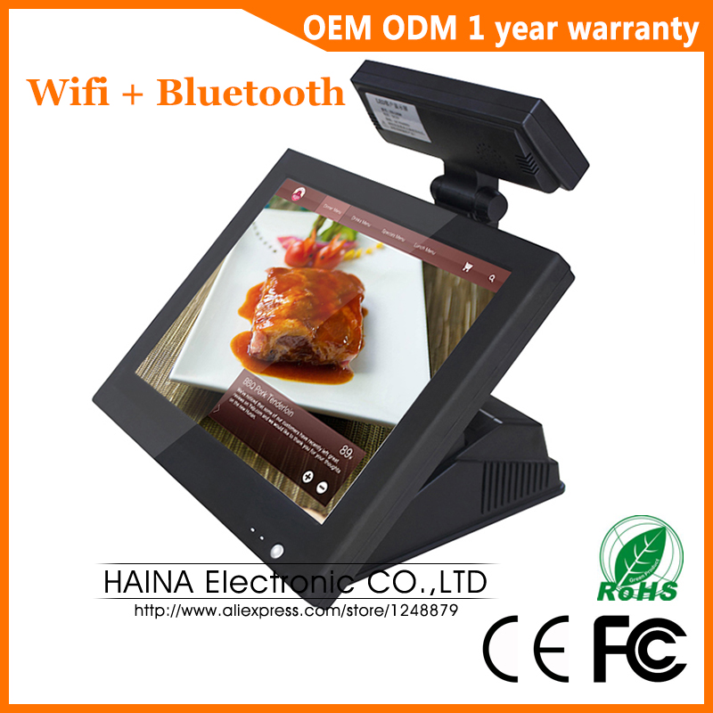 Haina tactile 15 pouces écran tactile Wifi Pos système Epos avec affichage du client