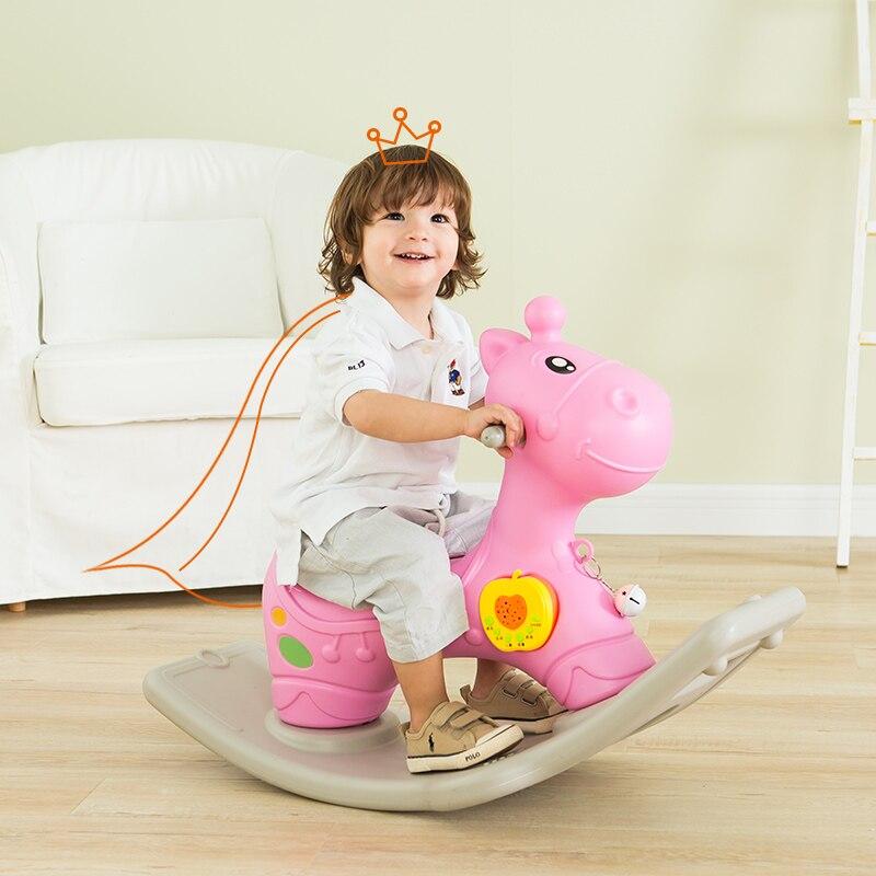 Mignon animaux en plastique cerf cheval à bascule poney à bascule monter sur voiture bébé chambre jouet avec musique équitation chaise à bascule pour enfants infantile
