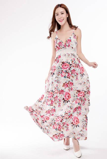 20ad56f0f57b86 Online Shop AliExpress Hot European sleeveless cotton printed harness  Fashion Long Maxi dress large size women wholesale