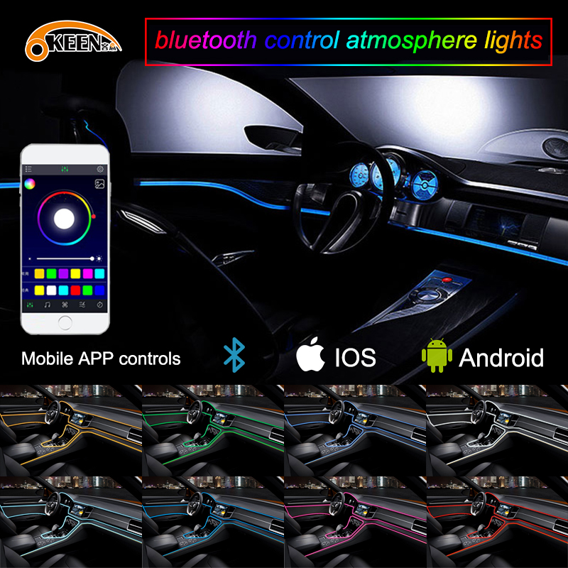 OKEEN APP 5M Car decor 12V lighter LED Lamp Strip thread sticker decals tags accessory Flexible Neon Light EL Wire Rope Tube