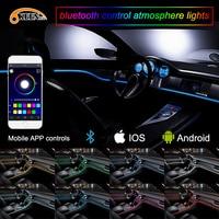 OKEEN APP 6M Car Decor 12V Lighter LED Lamp Strip Thread Sticker Decals Tags Accessory Flexible