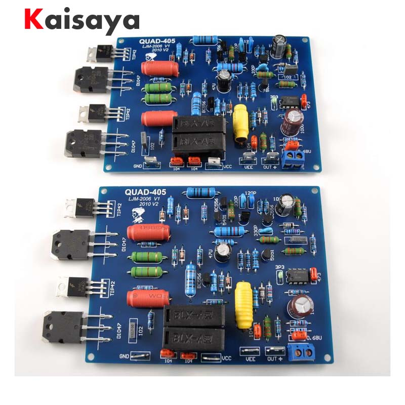 цена на 1Pair 2 channels QUAD405 100W+100w Audio Power Amplifier Board DIY KIT Assembled board B8-006
