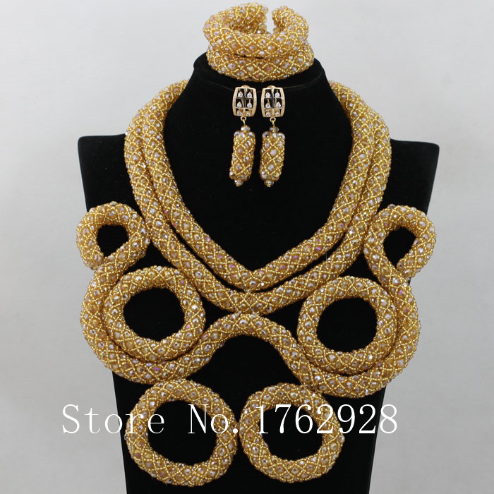 Champagne gold Nigerian African Wedding Beads Jewelry Set Chunky Bib Statement Necklace Set Gift for Women Free Shipping L0012