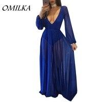 OMILKA 2017 סתיו נשים שרוול ארוך V צוואר חשוף גב שמלה סקסי שחור כחול עירום נצנצים שיפון הארוך מקסי מסיבת מועדון Dres