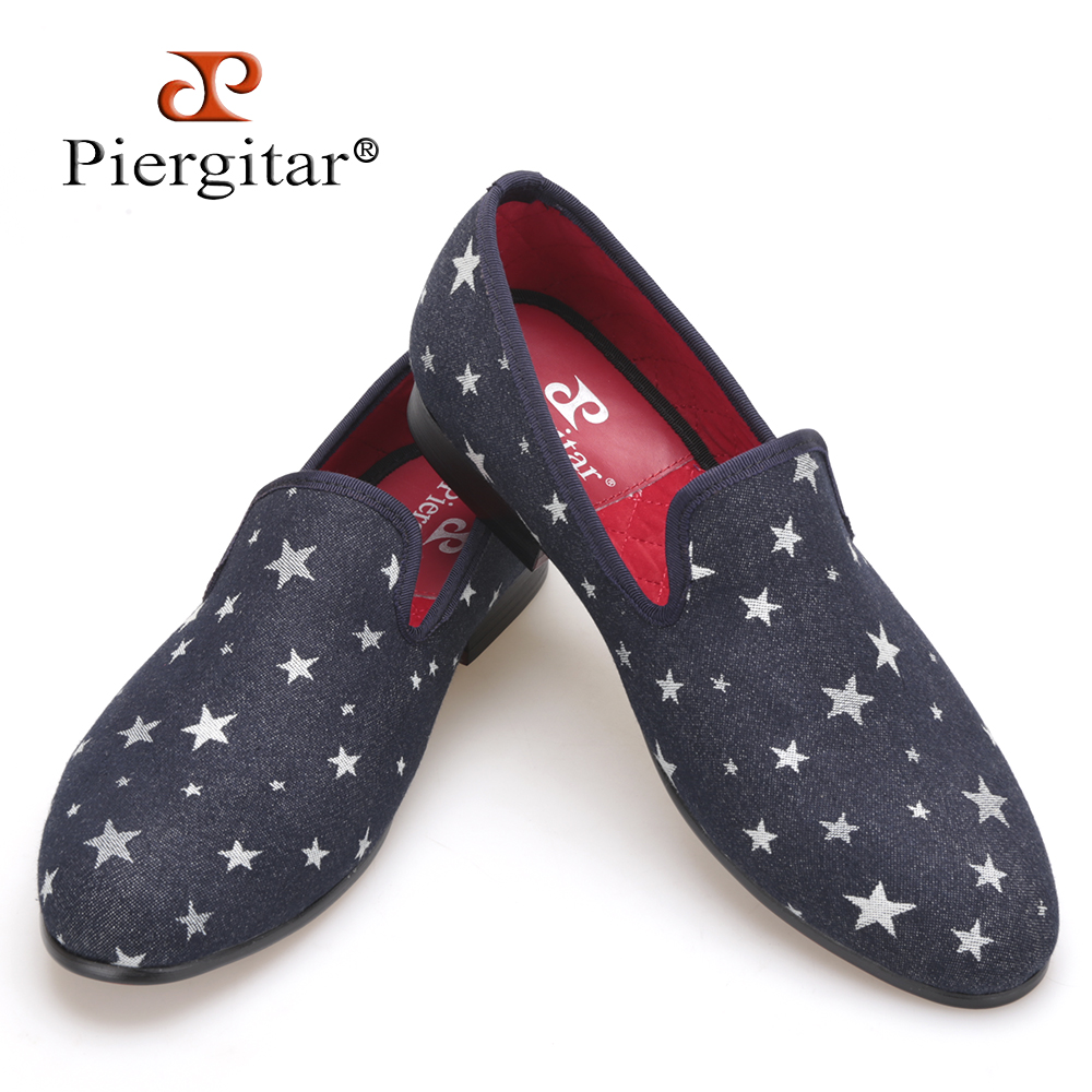 Men Denim Shoes Piergitar New Fashion Star Men Loafers Navy blue Plus Size Men's Flats Size US 4-17 Free shipping