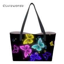 ELVISWORDS Women Tote Large Capacity Shoulder Bag Butterfly Print Ladies Unique personalized Handbags Trendy For Girls цена 2017